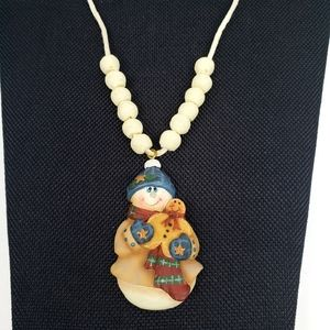 Jewelry - Snowman Beaded Christmas Necklace.